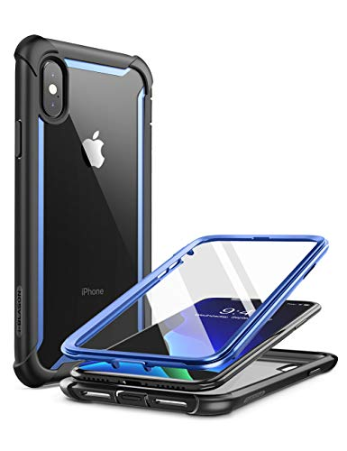 i-Blason Ares Full-Body Rugged Clear Bumper Case for iPhone Xs Max 2018 Release, Blue, 6.5' (iPhone2018-6.5-Ares-Blue)
