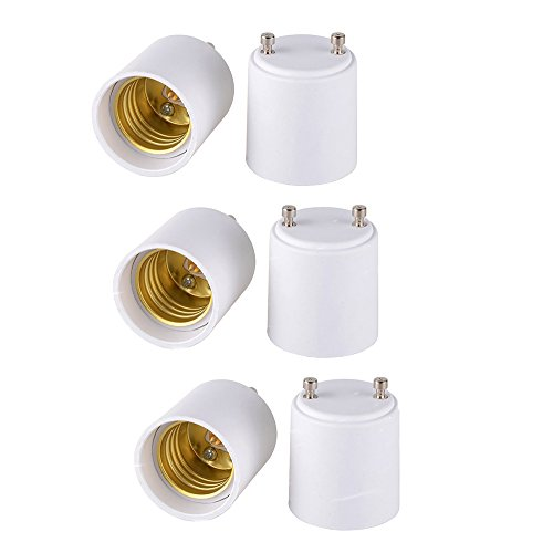 FINELED 6 PACK of GU24 to E26 E27 Adapter - Converts your Pin Base Fixture (GU24) to Standard Screw-in Bulb Socket (E26/E27) (6PACK)