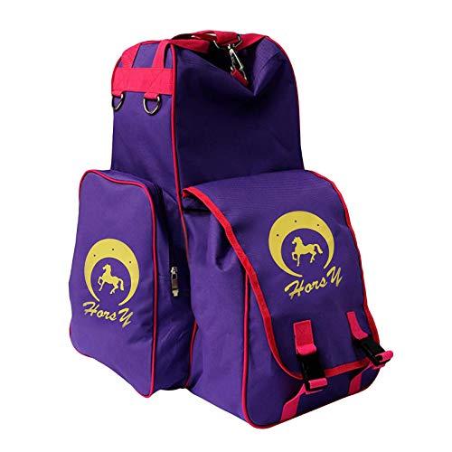 #N/A/a Mochila Ecuestre portátil Casco de Montar a Caballo Botas Bolsa de Pantalones para Deportes al Aire Libre - Púrpura