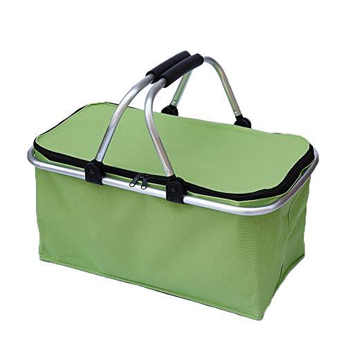 Wandofo Faltbarer Picknickkorb Camping Einkaufskorb Isoliertasche Kühlkorb mit Reißverschluss Wasserdichte Taschen grün