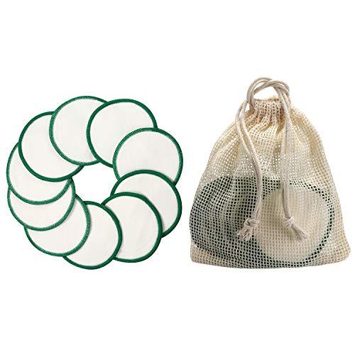 Vtrem 10Pcs Tampons Démaquillants Bio En Bambou Biologique Réutilisables Coton Lavable Éponge Lingettes Nettoyantes Visage Lavage Chiffon Soins De Peau Profesionnel + Sac À Linge