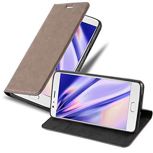 Cadorabo Hülle für OnePlus 3 / 3T - Hülle in Kaffee BRAUN – Handyhülle mit Magnetverschluss, Standfunktion & Kartenfach - Case Cover Schutzhülle Etui Tasche Book Klapp Style
