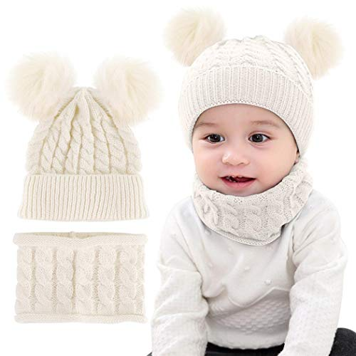 Yutdeng Bebé Gorros con Pompon y Bufanda de Punto Cuello Redondo Invierno Cálido Punto Beanie 0-36 Meses Niña Niño