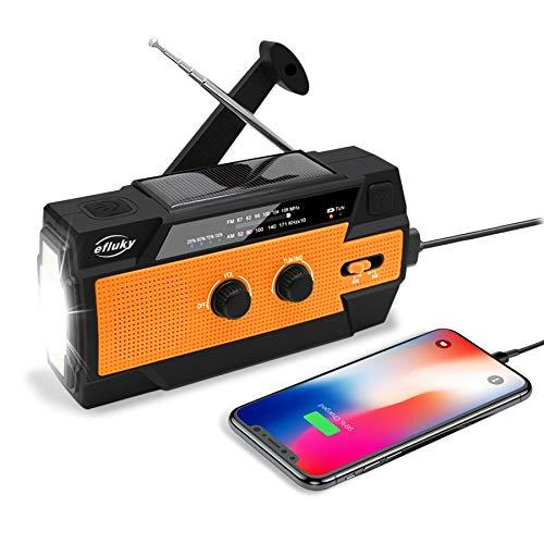 Efluky Solar Radio AM/FM/NOAA Kurbelradio Tragbar USB Wiederaufladbar Notfallradio mit 4000mAh Power Bank, Led Taschenlampe, SOS Alarm und Leselicht für Camping, Survival, Reisen, Notfall (Orange)