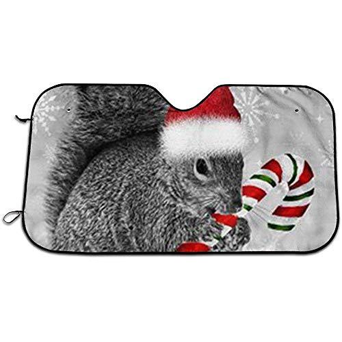 Kerst Eekhoorn, Snoep Riet, Santa Hat, Auto Voorruit Zon Schaduw UV Auto Protector Zon Scherm Voorruit Zon Schaduw Past Universele Auto's 147X118CM