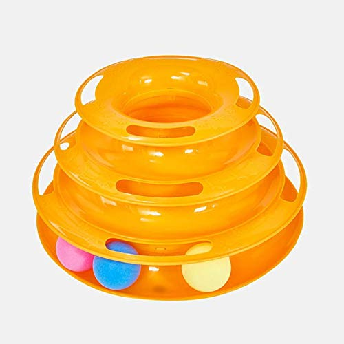 N\C Pet Cat Interactive Toy, Three-Story Tower Track Fun Roller Sports Intelligent Entertainment Triple Disc Pet Toy Ball