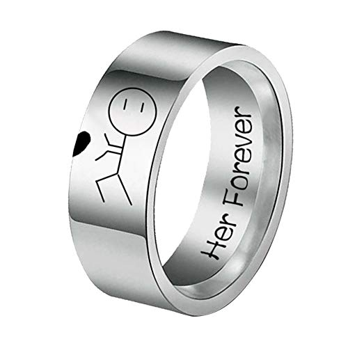 TankMR Exquisite Jewelry Ring Her Forever His Always Cartoon Abstract Ring Stainless Steel Couple Best Gifts for Love with Valentine's Day - US 13 Her Forever