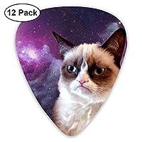 ギターピック 12枚セット 機嫌が悪い猫 それぞれ厚さ カラフル 3種類 0.46/0.71/0.96mm 収納ケース付 ティアドロップ型 Shape Guitar Picks ベース 練習 初心者