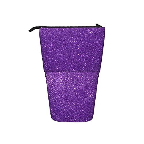 Estuche de lápices con patrón de lentejuelas púrpuras para niños niñas Estuche telescópico para lápices de...