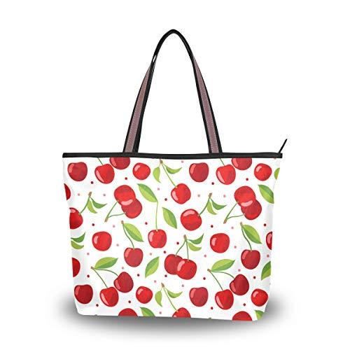 WowPrint Damen Handtasche mit roter Kirsche für Schule, Arbeit, Reisen, Einkaufen, Strand