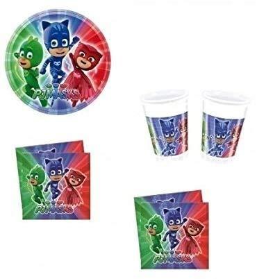 arcobalenoparty – Super pigiamini Kit 32 invités anniversaire coordonné Table PJ Mask (32, 32 verres, 40 assiettes 40 serviettes, 1 nappe)