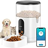 Automatic Cat Feeder, Dog Dispenser with Voice Recorder Programmable Portion Control Up to 10 Meals per Day, Smart APP Auto Food Feeder with Desiccant Bag for Small & Medium Pets 4L (Black)