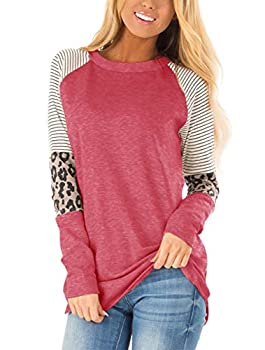 Floral Find Women s Long Sleeve Leopard Color Block Tunic Comfy Stripe Round Neck T Shirt Tops