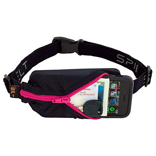 SPIbelt Running Belt Original Pocket, No-Bounce Waist Bag for Runners, Athletes Men and Women, fits Smartphones iPhone 6 7 8 X, Workout Fanny Pack, Expandable Sport Pouch, Adjustable, Hot Pink Zipper