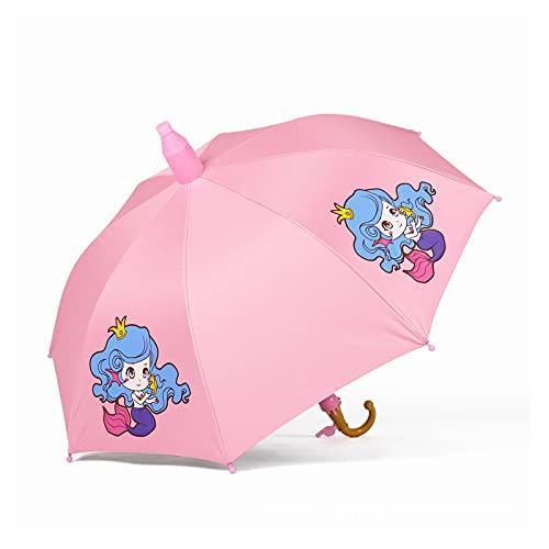 GUIYONGMY Paraguas Kindergarten Soleado y lluvioso Niños de Doble propósito Paraguas Lindo y Simple Paraguas Infantil Mango Largo Vinilo Paraguas de Protector Solar (Color : Mermaid Princess)