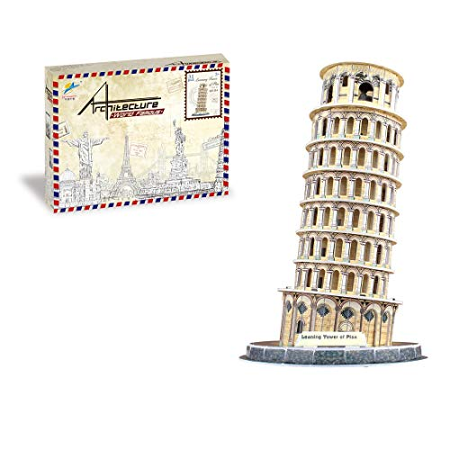 3D Building Model Puzzle Paper Model Sydney Opera House/Leaning Tower of Pisa Kids Adult Creative Assemble Educational Jigsaw Toys Gift,Leaning Tower of Pisa