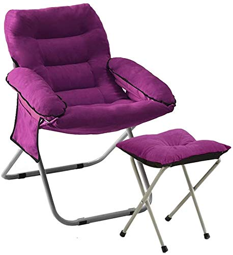 Mopoq Silla Baja Hamaca Simple con reposapiés Individual Balcón Tumbona Altura Ajustable sillón con Bolsa de Almacenamiento Lateral for Estudio Dormitorio (Color : Purple)