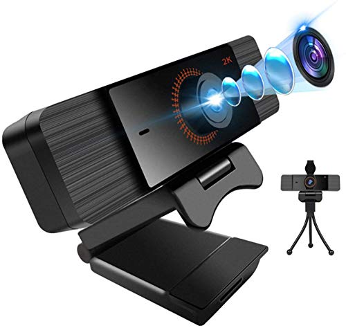 Webcam with Microphone 2K Full HD, Streaming Webcam with Tripod and Privacy Cover for PC,MAC,Laptop,Plug and Play Web Camera for Youtube,Video Calling,Studying,Conference,Gaming with 360° Rotatable