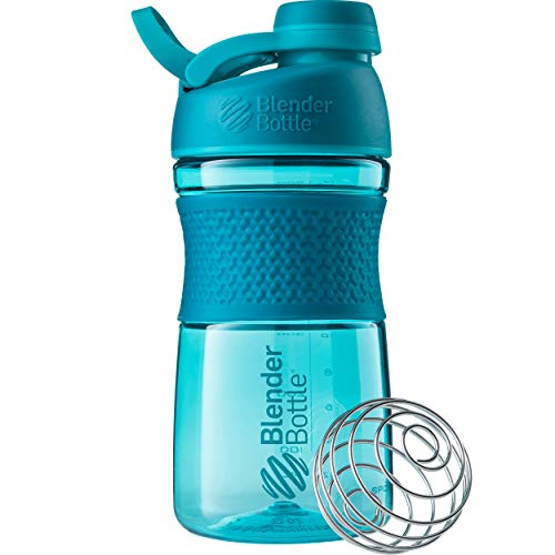 BlenderBottle SportMixer Shaker Bottle Perfect for Protein Shakes and Pre Workout, 20-Ounce, Teal