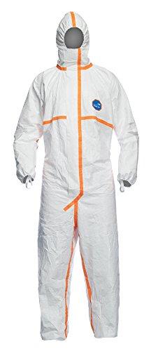 DuPont Tyvek 800J | Chemikalienschutzkleidung mit Kapuze, Kategorie III, Typ 3-B, 4-B, 5-B und 6-B | Weiß | Robust und Leicht |Größe XXL
