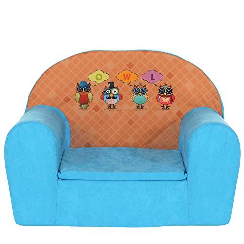 LCP Kids Kindersessel Mini Sessel Kindermöbel Eulen blau