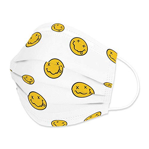 Edaren 20Pcs/Pack Face Mask 3-Layer Fashion Design Protection Adjustable Covering Unisex Mouth Shield Adult Yellow Smile