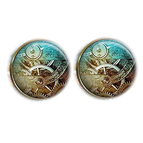 Bloody devil Time Jewelry,Vintage Steampunk Reloj industrial cúpula de cristal redondo cabujón gemelos regalo de amor
