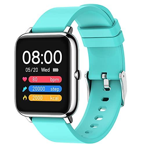 Reloj inteligente para mujeres Fitness Trackers con monitor de sueño de frecuencia cardíaca 1.4 pulgadas DIY Dial pantalla táctil completa IP67 impermeable azul claro,