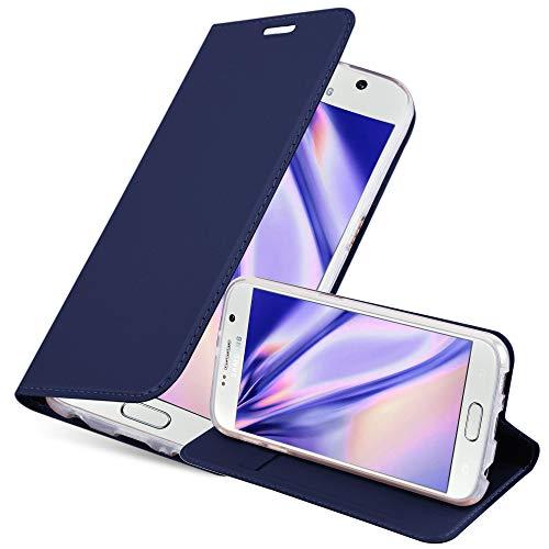 Cadorabo Funda Libro para Samsung Galaxy S6 en Classy Azul Oscuro - Cubierta Proteccíon con Cierre Magnético, Tarjetero y Función de Suporte - Etui Case Cover Carcasa