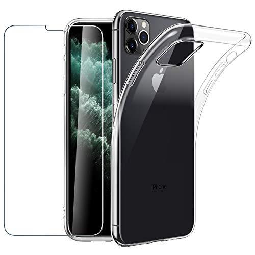 EasyAcc Hülle Für iPhone 11 Pro Case und Panzerglas 9H Schutzfolie, Clear Transparent Handyhülle Cover Premium-TPU Durchsichtige Schutzhülle Für iPhone 11 Pro