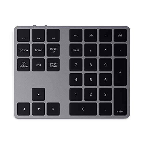 Satechi Bluetooth Extended Numeric Keypad – Slim Rechargeable 34-Key Numberpad – Compatible with 2020 MacBook Air, 2020 iPad Pro, 2020/2019 MacBook Pro, iMac/iMac Pro (Space Gray)