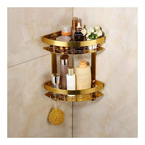 Badezimmer Regal Europäischer Goldenes Doppel Triangular Racks Badezimmer Rackswall montierte Edelstahl-Rostfrei-Dusche mit hängend 2 Haken AQUILA1125