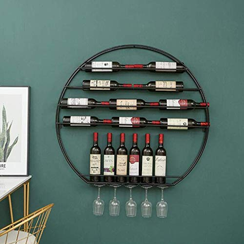 Wall Mounted Metal Wine Bottle Holder Retro Round Wine Rack Tall Glass Floating Wine Display Rack Black