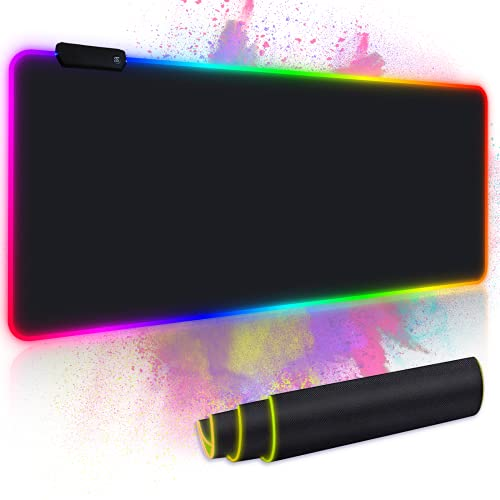 Mouse Pad, RGB Gaming Mouse Pad, Led Extended Mousepad, Extra Large Soft Computer Keyboard Mouse Pads, Large Mouse Pad with 31.511.8 inch, RGB Mouse pad with 14 Kinds of RGB Lighting (X-Large)