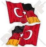 DEUTSCHLAND-TÜRKEI Deutsch-Türkische Wehende Flagge 75mm Auto & Motorrad Aufkleber, x2 Vinyl Stickers (Links - Rechts)