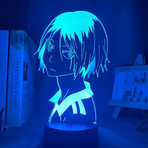Haikyu!! Luz LED nocturna de anime Kozume Kenma lámpara para decoración de dormitorio, luz nocturna para niños, regalo de cumpleaños Haikyuu Kenma luz 16 colores con mando a distancia