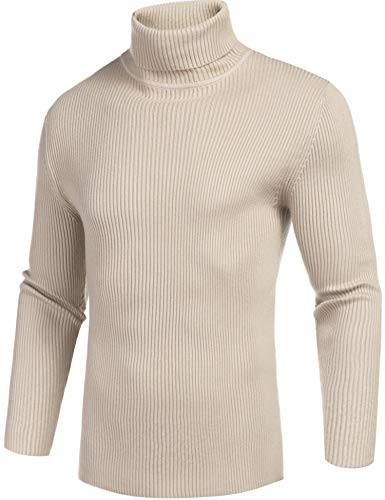 Daupanzees Mens Casual Basic Thermal Turtleneck Slim Fit Pullover Thermal Sweaters (Beige, XX-Large)