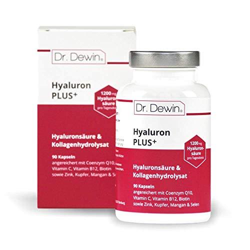 SONDERAKTION | Dr. Dewin® Hyaluron PLUS│Hyaluronsäure + Kollagen Kapseln│Hochdosiert 1200 mg Tagesdosis |Testsieger 2019/2020* │Coenzym Q10 + Biotin │800-1500 kDa