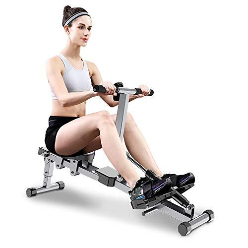 TEET Rudergerät Haushalt Rudergerät Innen Abnehmen und Bauch Fitnessgerät faltbares Design spart Platz und hat Starke Tragfähigkeit (Color : Gray, Size : 142x48x30cm)