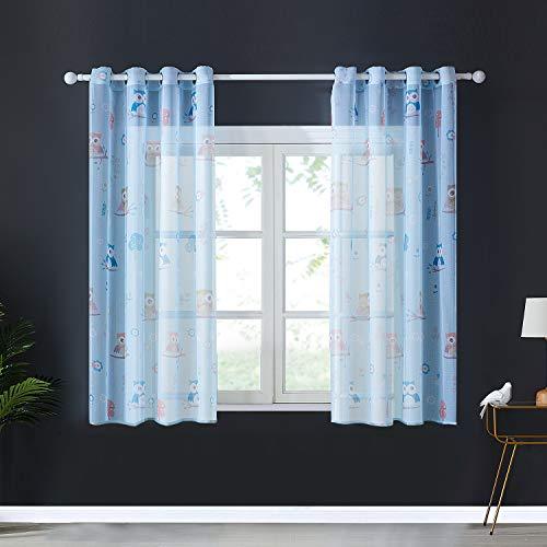 Topfinel Voile Vorhänge mit Ösen Lichtdurchlässige Gardinen Kurz mit Eulenmustern für Kinderzimmer Wohnzimmer Fenster 2er Set je 137x117cm (HxB) Blau