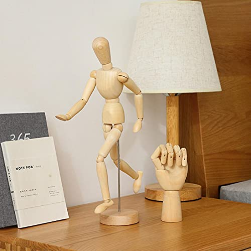 Figura de acción de madera de pulido de superficie creativa, utilizada como modelo de hombre de boceto de estante de joyería, accesorio de fotografía para decoración de escritorio de sala