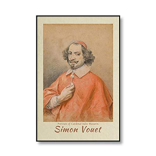 Póster de exposición Simon Vouet retrato retrato Retro impresión Mural imagen hogar sin marco pintura decorativa en lienzo A1 50x75cm