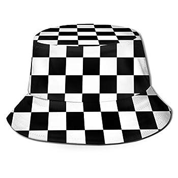 Black White Race Checkered Flag Unisex Fashion Bucket Hat Summer Fisherman Cap Sun Hat