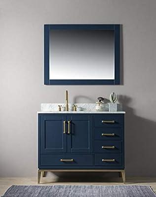 "UrbanFurnishing.net - Joy 42-Inch (42"") Bathroom Sink Vanity Set with White Italian Carrara Marble Top - Blue"