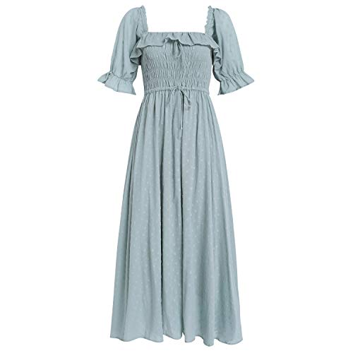 R.YIposha Women Vintage Elastic Square Neck Ruffled Half Sleeve Summer Backless Beach Flowy Maxi Dresses,8-10,Green