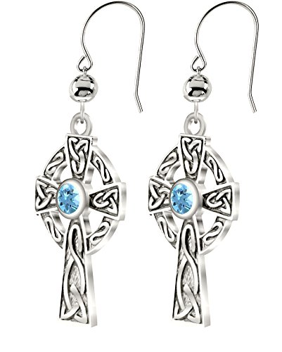 US Jewels New 0.925 Sterling Silver Irish Celtic Knot Cross Earrings with Genuine Aquamarine March Birthstone