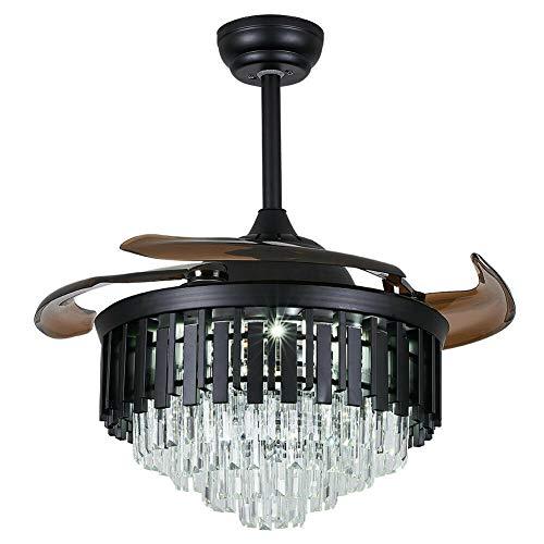 Ventilador de techo de cristal con luz – 100 cm – Lámpara de techo moderna con ventilador, lámpara de araña plateada con mando a distancia para salón o dormitorio