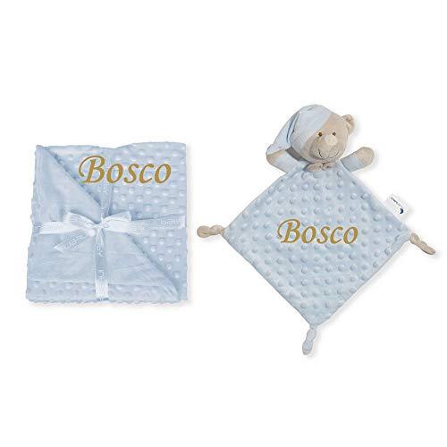 Set de Manta + Dou Dou Personalizado con nombre bordado Baby Shower Regalo de un babero- Danielstore
