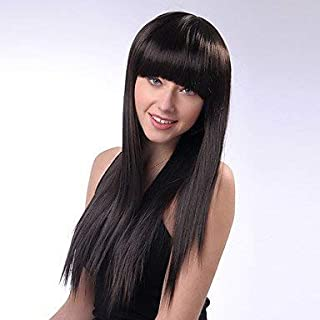 Js-Wigs Synthetic Wig Straight with Bangs Black Women's Capless Natural Wigs Long Synthetic Hair