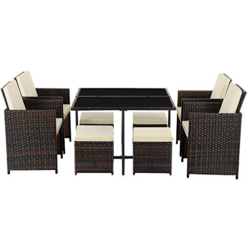 SONGMICS Set of 9 PE Rattan Garden Furniture Set Dining Table and Chairs, Outdoor Patio Furniture, Glass Top Coffee Table, with Cushions, Easy Storage, Space-Saving, Brown and Beige GGF091K01